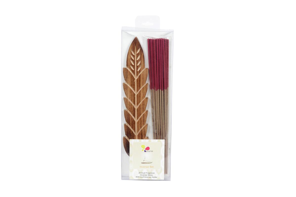 Rose & Jasmine-Dual Fragrance Incense Sticks & Holder Set (DUALF-1/B)