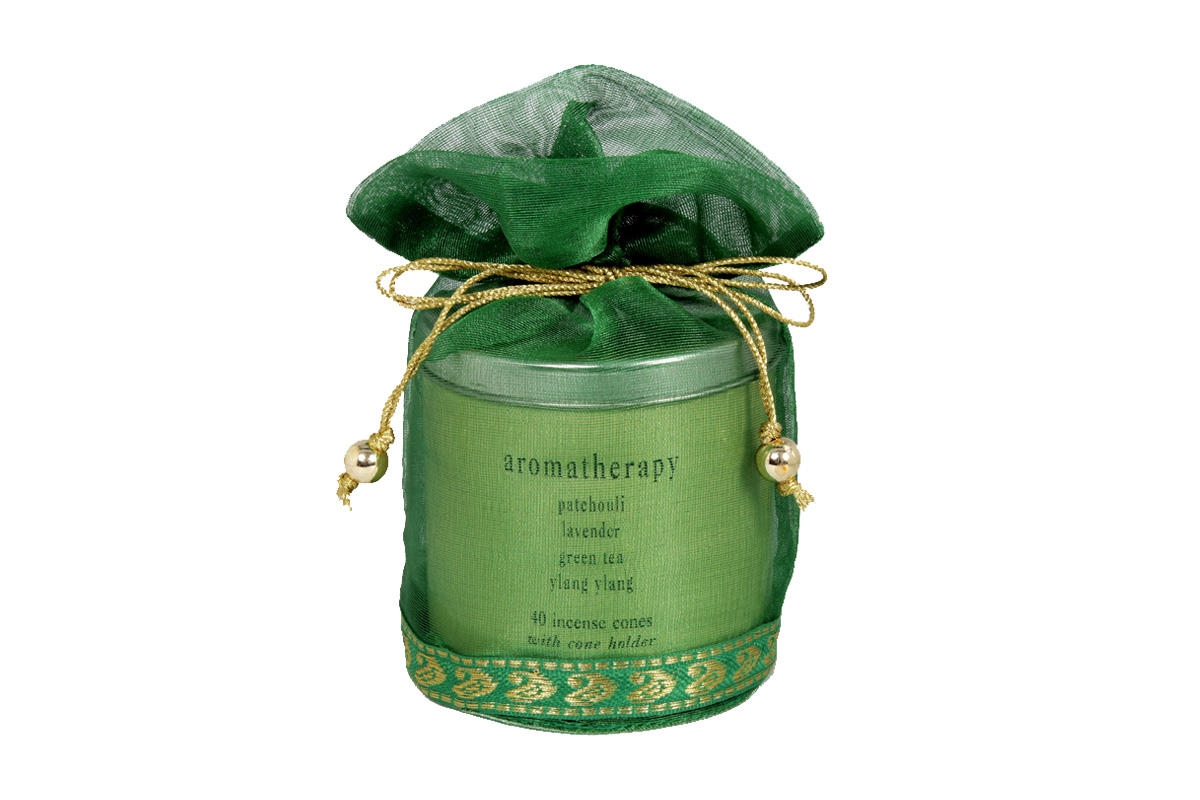 Aromatherapy -40 Incense Cones Tin Can in a Decorative Tissue Bag  (A-1026/B)