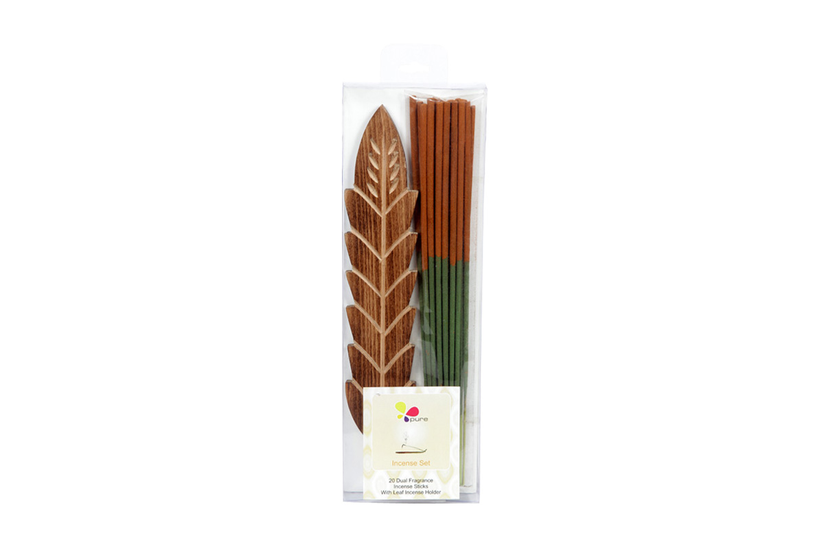 Musk & Sandalwood-Dual Fragrance Incense Sticks & Holder Set (DUALF-1/A)