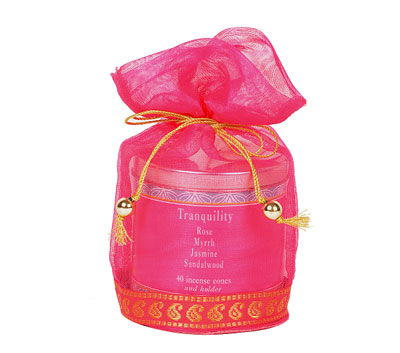 Tranquility-40 Incense Cones Tin Can in a Decorative Tissue Bag  (A-1026N/C)