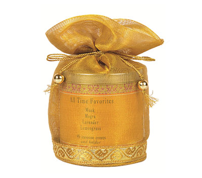All Time Favorities-40 Incense Cones Tin Can in a Decorative Tissue Bag  (A-1026N/D)