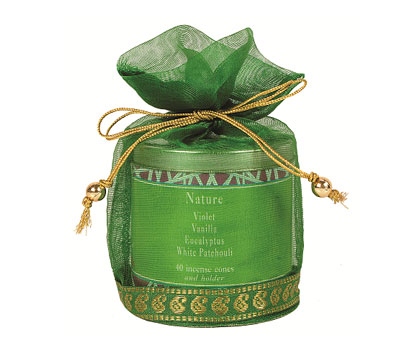 Nature-40 Incense Cones Tin Can in a Decorative Tissue Bag (A-1026N/B)