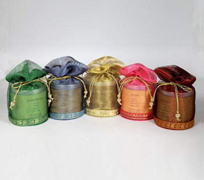 40 Incense Cone Tin Cans in a Decorative Tissue Bag (A - 1026)