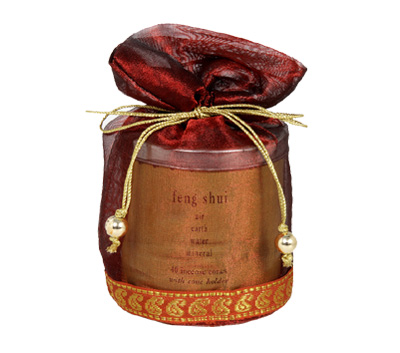 Feng Shui-40 Incense Cones Tin Can in a Decorative Tissue Bag  (A-1026/A)